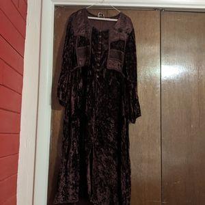 Vintage crushed brown velvet dress